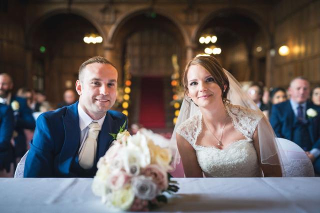 wedding photographer bride mill hall ceremony interior newbury berkshire